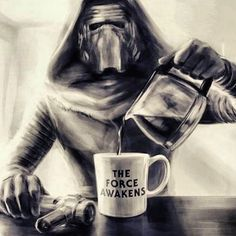 Coffee - the force awakens- Kylo Ren- Star Wars Coffee Talk, Coffee Is Life, I Love Coffee, Coffee Break, My Coffee, Morning Coffee, Coffee Shop, Coffe Bar, Coffee Humor