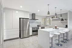 Verto Kitchens   Gilston  This classic grey and white kitchen adds sophistication to this home. Gray And White Kitchen, Grey And White, Quality Kitchens, Bespoke Kitchens, Kitchen Designs, Decoration, Classic, Furniture, Home Decor