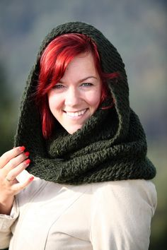 Knitted infinity scarf  Dark green infinity scarf  by MioLauma, $35.00