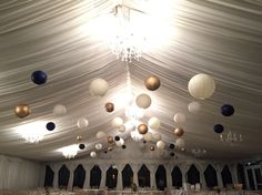40 Cream, gold, navy paper lanterns