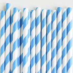Paper Straws: Bluebird Stripes