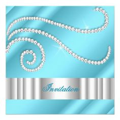 222 best tiffany blue birthday theme images on pinterest blue blue white jewel diamonds silver birthday party invitation filmwisefo
