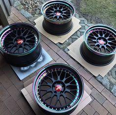 Black and rainbow 🌈 chrome Vw Mk4, Volkswagen Jetta, Bbs Wheels, Wheels And Tires, Tuner Cars, Jdm Cars, Custom Wheels, Custom Cars, Weird Cars