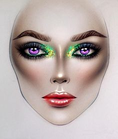 Body Makeup, Mac Makeup, Crazy Makeup, Makeup Looks, Mac Face Charts, Makeup Face Charts, Lovely Eyes, Beautiful, Stained Glass Projects