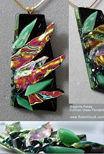 Magenta Petals by Robin Houck Fused Dichroic Glass Pendant