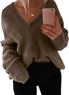 Enjoy exclusive for StyleDome Women's V Neck Long Sleeve Oversized Pullover Sweater Casual Loose Knitted Shirts Tops online - Thetrendyclothes Baggy Sweaters, Girls Sweaters, Pullover Sweaters, Sweaters For Women, Cute Winter Outfits, Trendy Outfits, Jackets For Women, Store, Long Sleeve