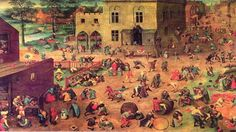 The Children's Game is an oil painting done by the artist Pieter Bruegel the Elder. Artist:Pieter Bruegel the Elder Location: Kunsthistorisches Museum, Vienna in x 63 in Subject/type: oil on oak Period: The Renaissance Google Art Project, Renaissance Kunst, Renaissance Paintings, Medieval Paintings, Pieter Brueghel El Viejo, Kunsthistorisches Museum Wien, Pieter Bruegel The Elder, Caravaggio, Hieronymus Bosch