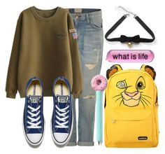 """""""What is life//"""" by carogamer ❤ liked on Polyvore featuring Current/Elliott, Converse, Disney and COS"""