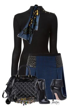 Blue Houndstooth Skirt with Black Sweater Classy Outfits, Chic Outfits, Trendy Outfits, Fashion Outfits, Diva Fashion, Work Fashion, Fashion Beauty, Fall Sweaters For Women, Houndstooth Skirt