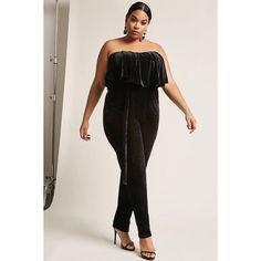 dbcf666bfbd Forever 21 Plus Size Velvet Strapless Flounce Jumpsuit Black featuring  polyvore plus size women s fashion plus size clothing plus size jumpsuits  black ...