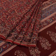 Hand Printed Red Kalamkari Cotton Saree With Floral motifs 10013855 - AVISHYA.COM