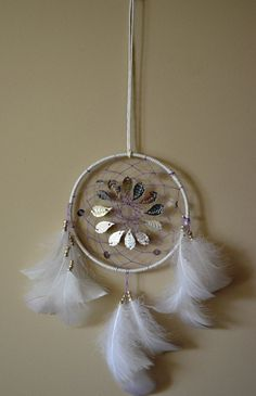 White Dream Catcher With Fish Scale and Leaf by DreamySummerNights, $6.00