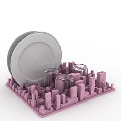 Silicone dish rack and desk organiser shaped like a 3D model of Midtown Manhattan