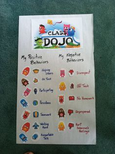 Class DoJo Poster of Positive and Negative Behaviors. Students need to know what behaviors we are monitoring and changing as we build a community. Parents can also understand what behaviors their child is displaying when they are away from home. Class Dojo Rewards, Behavior Incentives, Positive Behavior Management, Classroom Management, Class Management, 5th Grade Classroom, School Classroom, Future Classroom, Classroom Ideas