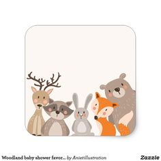 Woodland baby shower favor tag Sticker Animals Fox - New Deko Sites Baby Boy Room Decor, Baby Boy Rooms, Baby Room, Baby Shower Favors, Baby Boy Shower, Baby Shower Decorations, Baby Favors, Woodland Creatures, Woodland Animals