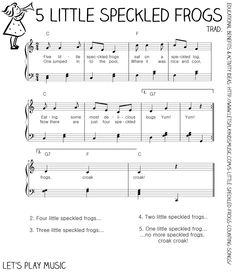 Let's Play Music - Free Sheet Music - 5 Little Specked Frogs