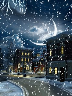 Download Animated 240x320 «Village Snow» Cell Phone Wallpaper. Category: Holidays