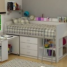 a loft bed with storage and desk is a great space saver for a small bedroom - Bedroom Design Ideas For Kids