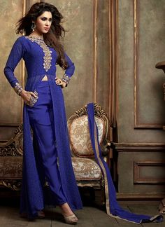 Blue Georgette Pant Style Party Wear Salwar Suit