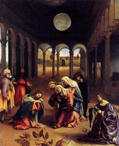 Iconografia e Simbologia na Arte Cristã: Iconografia dos Mistérios de Jesus Cristo   Lorenzo Lotto, Christ Takes Leave of his Mother, 1521, Berlim, Gemaldegalerie.