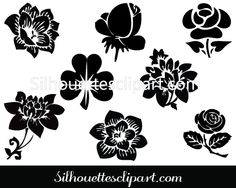 Flower Silhouette Clip Art Pack Download Flower Vectors