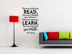 Dr.SeussThe more that you read learn go Nursery Room Handmade Vinyl Wall Decal Art Mural for Children W0101