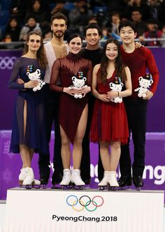 Silver medal winners Gabriella Papadakis and Guillaume Cizeron of France gold medal winners Tessa Virtue and Scott Moir of Canada and bronze medal. Youth Olympic Games, 2018 Winter Olympic Games, Olympic Sports, Virtue And Moir, Tessa Virtue Scott Moir, Summer Olympics, Special Olympics, Gabriella Papadakis, Olympic Winners