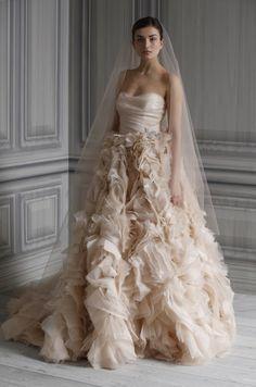 Romantic blush pink Monique Lhuillier wedding dress