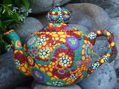Upcycled Teapot Asian Influence Floral Motif Clay by CrazieHappy,