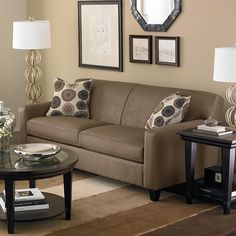 All Kind Of Sofas For Small Living Room Ideas : Beautiful Brown Small Sofa For Small Living Room Design With Cushions And Round Table With L...