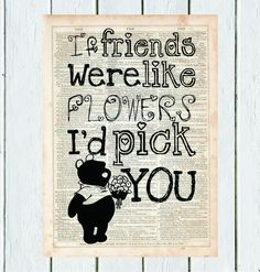 Pooh Friendship Quote, Dictionary Art Print, Vintage Dictionary, Silhouette, Winnie the Pooh, Wall Decor, Wall Hanging, Art Prints, Cameo
