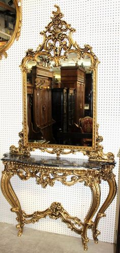 Antique French Carved Gold Gilt Louis XV Console & Mirror Circa 1890