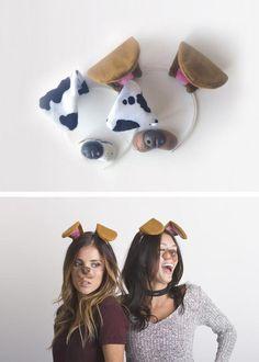 Cute Teen Costumes, Halloween Costumes For Teens, Homemade Halloween, Halloween Kostüm, Dog Filter Costume, Snapchat Costume, Snapchat Halloween Costume, Snapchat Dog Filter, Fantasias Halloween
