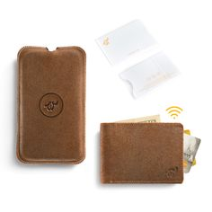 Brown Woolet with matching Charging Pad and RFiD Blocker