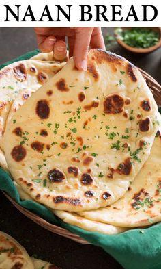 Recipes With Naan Bread, Homemade Naan Bread, Good Food, Yummy Food, Pain, Indian Food Recipes, Baking Recipes, Bread Baking, Indian Meal