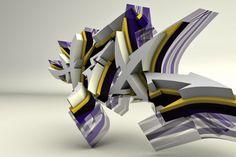 HEX letters graffiti in 3D