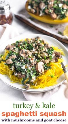 An easy meal in 35 minutes, these spaghetti squash boats are filled with ground turkey, kale, mushrooms, and goat cheese to make and delicious, satisfying, healthy, and gluten free dinner. Great fore meal prep too! - Eat the Gains #spaghettisquash #glutenfreedinner #easydinner #mealprepideas #lowcarb Easy Weekday Meals, Easy Weeknight Meals, Easy Meals, Cheap Meals, Healthy Dinners, Entree Recipes, Easy Dinner Recipes, Breakfast Recipes, Whole 30 Recipes