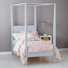 Simple and clean. Can easily be accesorized for a princess. beautiful canopy bed from @LandofNod
