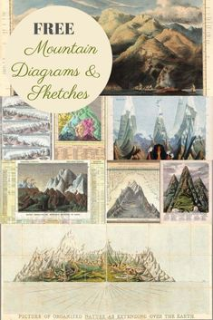 A wonderfully interesting and informative collection of vintage mountain diagrams and sketches.  They are fascinating to study and would look lovely framed. #mountains #scienceposters