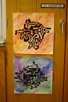 Notan Squares: 6th grade | Dali's Moustache - love these on a wet on wet background!