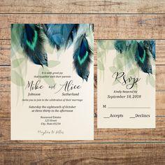Wedding Invitation Set, Wedding Invite, Wedding Rsvp Card, Printable Wedding Invitations, Boho Wedding Invitations, Feather Invitations by FarahLynnDesign on Etsy