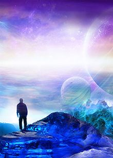 Orit Martin Open Skys, beautiful imagination of huge planets, moons, other world, with man standing gazing on the edge of a mountain. Please also visit www.JustForYouPropheticArt.com for colorful inspirational Prophetic Art. Thank you so much! Blessings! #PropheticArt