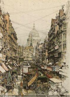 Luigi Kasimir,1881-1962, London, Fleet Street, color etching