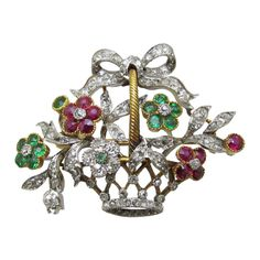 French Floral Diamond Brooch   From a unique collection of vintage brooches at http://www.1stdibs.com/jewelry/brooches/brooches/