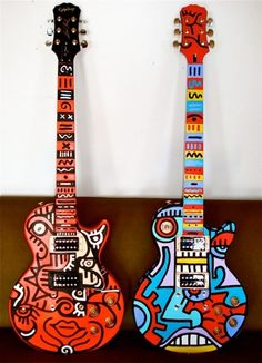 Les Paul Gibson Guitars Painted by Billy the Artist