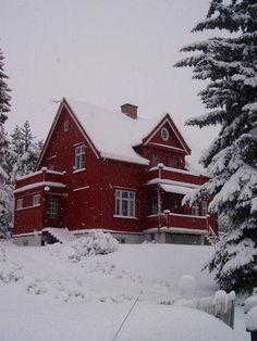 Pretty red house, Hamar, Norway