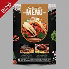 Food menu flyer Food Graphic Design, Food Menu Design, Food Poster Design, Flyer Design, Design Design, Restaurant Poster, Restaurant Identity, Restaurant Restaurant, Food Template