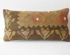 12x24 Tribal decorative pillow turkish throw pillow lumbar hand woven kilim pillow embroidered turkish pillow cover vintage ethnic cushion