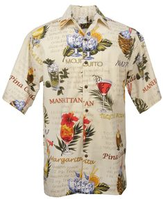 Go Barefoot Happy Hour Hawaiian Aloha Shirt in Sand