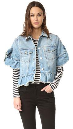 MSGM Short Sleeve Ruffle Denim Jacket